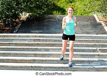 jonge vrouw , jogging, in, natuur