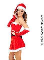 jonge vrouw , kerstmis, vrijstaand
