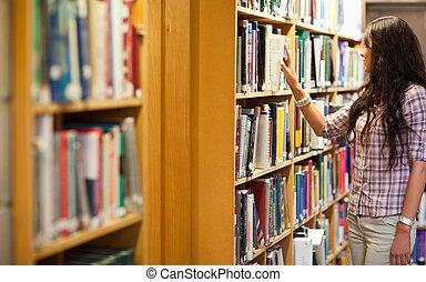 jonge vrouw , kies, een, boek