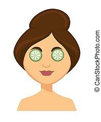 jonge vrouw , met, cucumber snijdt af, op, haar, eyes