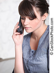 jonge vrouw , met, een, telefoon