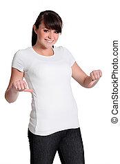 jonge vrouw , met, een, witte t-shirt, voor, boodschap