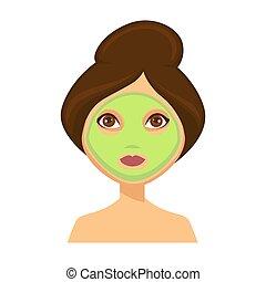 jonge vrouw , met, groen gezicht, masker, en, haar, haar omhoog