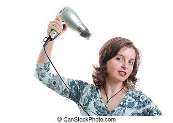 jonge vrouw , met, hairdryer, -, vrijstaand