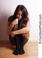 jonge vrouw , met, littekens, van, self-harm