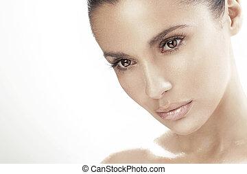 jonge vrouw , met, mooie ogen