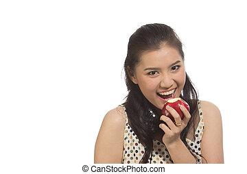 jonge vrouw , met, rode appel