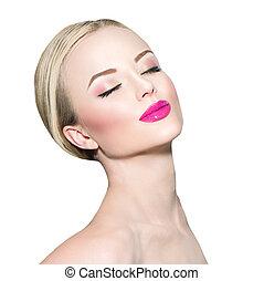 jonge vrouw , met, schoonmaken, fris, huid, closeup