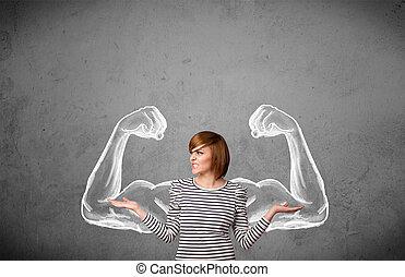 jonge vrouw , met, sterke, muscled, armen