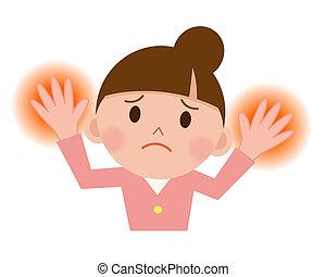 jonge vrouw , met, vil irritatie