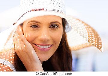 jonge vrouw , met, zomer hoed