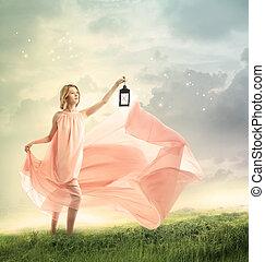 jonge vrouw , op, een, fantasie, heuveltop