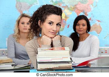 jonge vrouw , op, universiteit