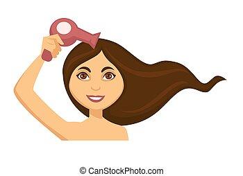 jonge vrouw , slag het drogen, haar, lang donker haar