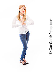 jonge vrouw , staand, in, gebed positie