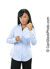 jonge vrouw , strijdvaardig
