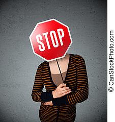 jonge vrouw , vasthouden, een, stopteken