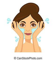 jonge vrouw , was, haar, gezicht, met, drinkwater