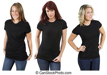 jonge vrouwen, met, leeg, black , overhemden