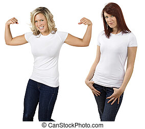 jonge vrouwen, met, leeg, witte overhemden