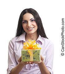 jonge vrouwen, vasthouden, cadeau, of, kado