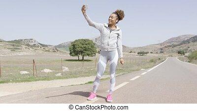 jonge, vrouwlijk, foto nemd, gedurende, workout