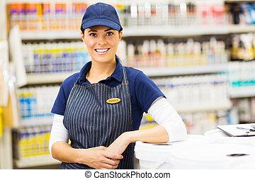 jonge, vrouwlijk, hardware winkel, arbeider, verticaal
