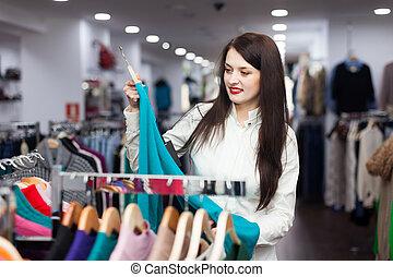 jonge, vrouwlijk, koper, kies, trui