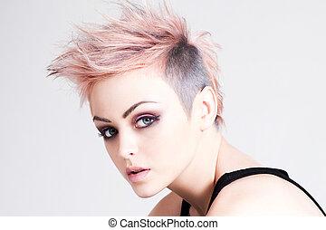 jonge, vrouwlijk, punker, met, rose haren