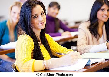jonge, vrouwlijk, universiteitsstudenten, in, klaslokaal