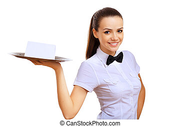 jonge, waitress, met, een, lege, blad