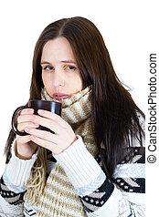 jonge, winter, meisje, drinkt, hete thee, vrijstaand, op wit