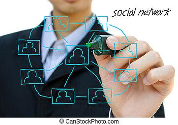 jonge, zakelijk, tekening, sociaal, netwerk, structuur, in, een, whiteboard.