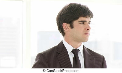 jonge, zakenman, het glimlachen, op, de, ca