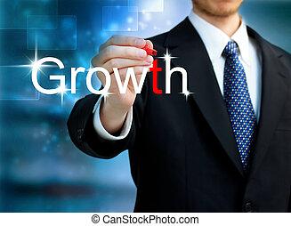 jonge, zakenmens , schrijvende , de, woord, groei