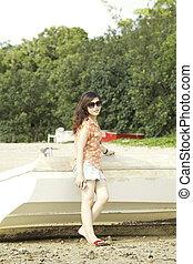 jonge, zomer, aziatische vrouw