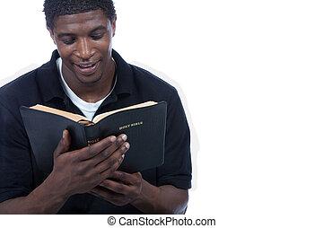 jonge, zwarte man, lezende , bijbel