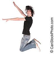 jongen, 2, black , springt