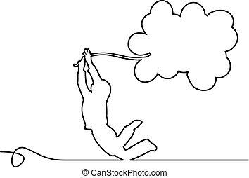 jongen, achtergrond., copyspace., vrijstaand, illustratie, lijnen, vector, black , vasthouden, kleine, witte , ballons
