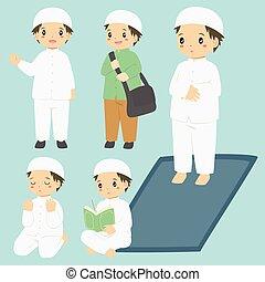 jongen, activiteiten, alledaags, vector, moslim, verzameling