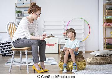jongen, adviseur, analyzing, autisme