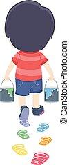 jongen, afdrukken, illustratie, verf , kleuren, voet, geitje