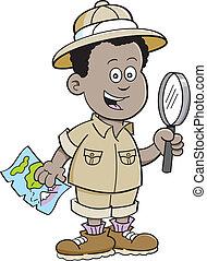 jongen, afrikaan, ontdekkingsreiziger, spotprent