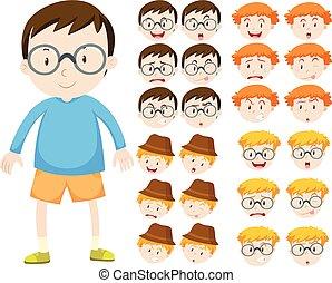 jongen, anders, uitdrukkingen, gezichts