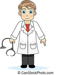 jongen, arts, schattig