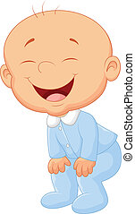 jongen, baby, spotprent, lachen