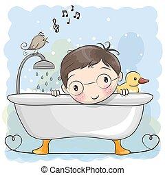 jongen, badkamer