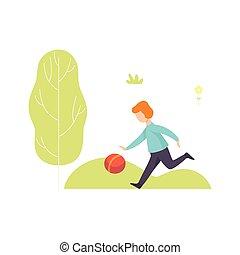 jongen, bal, illustratie, spelend, park, vector, buitenshuis, plezier, hebben, geitje