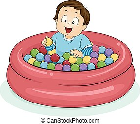 jongen, bal, illustratie, toddler, pit, geitje
