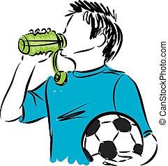 jongen, bal, illustratie, water, drinkt, voetbal